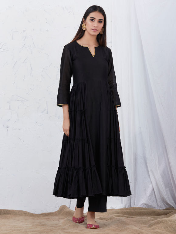 Black Anarkali Chanderi Kurta