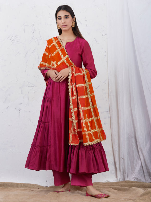 Magenta Anarkali Chanderi Kurta with Cotton Palazzo and Orange Hand Block Printed Mulmul Dupatta - Set of 3
