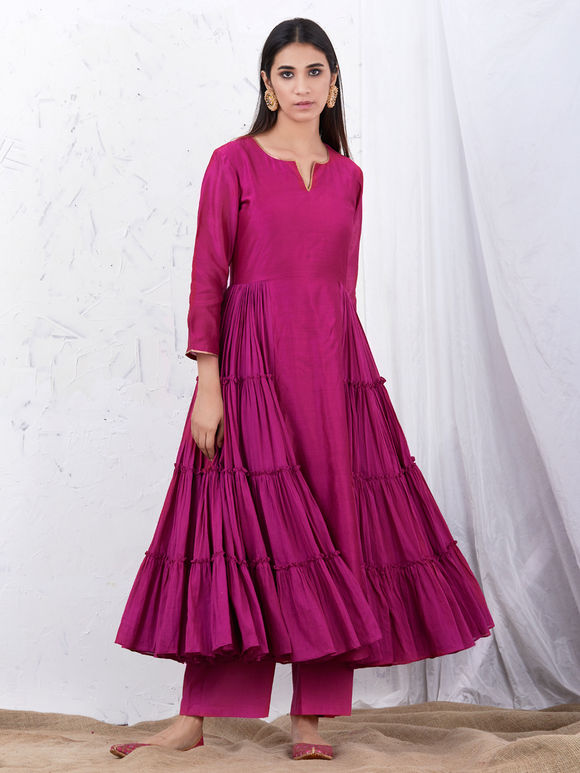 Wine Anarkali Chanderi Kurta