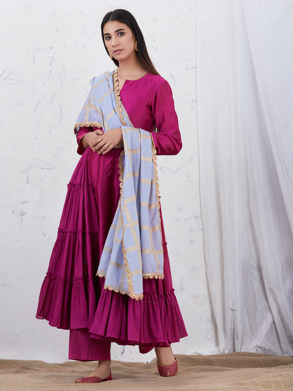 Wine Anarkali Chanderi Kurta with Cotton Palazzo and Light Blue Hand Block Printed Mulmul Dupatta - Set of 3