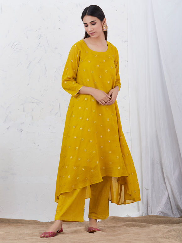 Mustard Yellow Embroidered Mulmul High Low Kurta with Cotton Slip - Set of 2