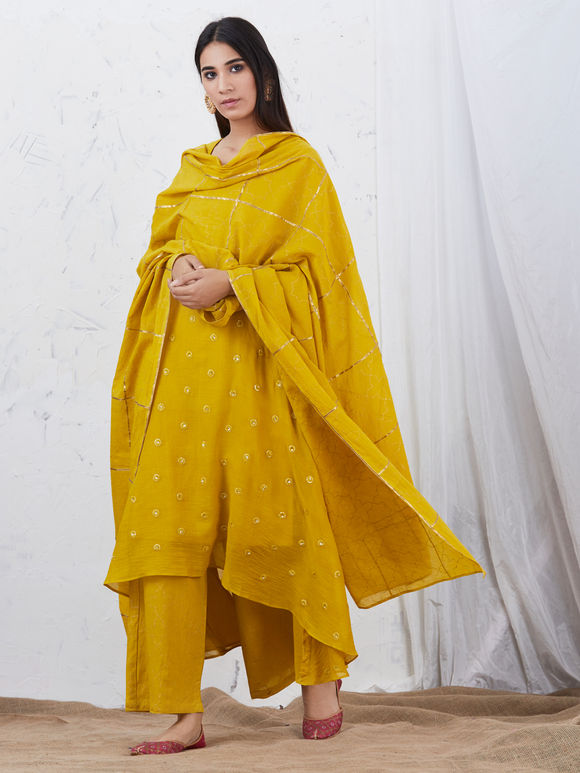 Mustard Yellow Embroidered Mulmul High Low Kurta with Cotton Slip, Hand Block Printed Palazzo and Dupatta - Set of 4