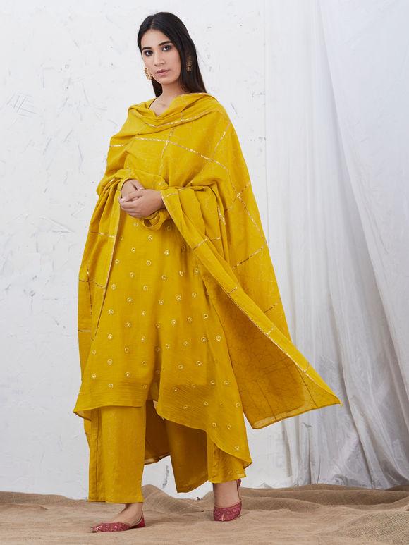 Mustard Yellow Hand Block Printed Mulmul Dupatta