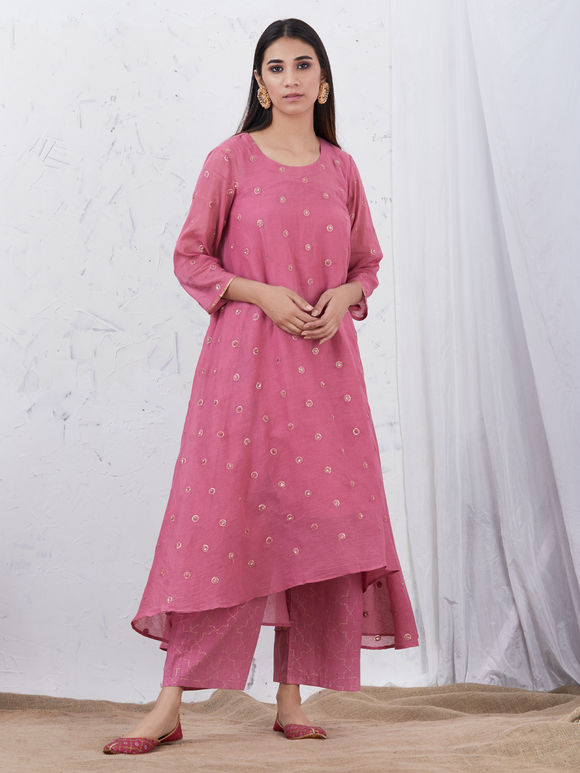 Pink Embroidered Mulmul High Low Kurta with Cotton Slip - Set of 2