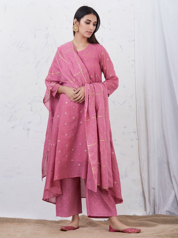 Pink Embroidered Mulmul High Low Kurta with Cotton Slip, Hand Block Printed Palazzo and Dupatta - Set of 4