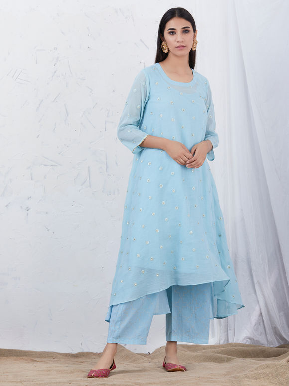 Light Blue Embroidered Mulmul High Low Kurta with Cotton Slip - Set of 2