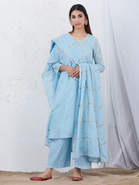 Light Blue Embroidered Mulmul High Low Kurta with Cotton Slip, Hand Block Printed Palazzo and Dupatta - Set of 4