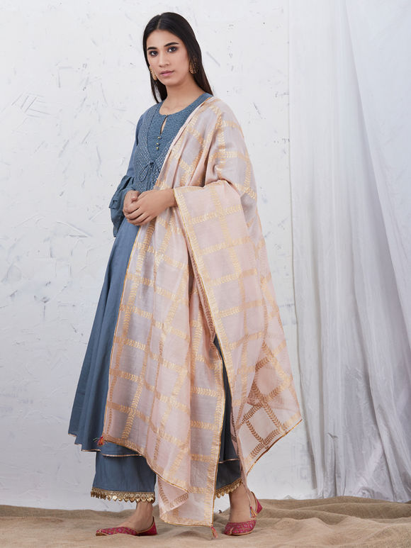 Greyish Blue Embroidered Cotton Kurta with Palazzo and Peach Hand block Printed Chanderi Dupatta - Set of 3