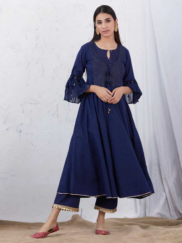 Navy Blue Embroidered Cotton Kurta