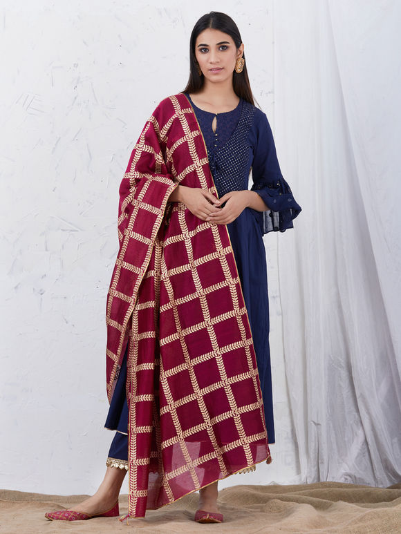 Navy Blue Embroidered Cotton Kurta with Palazzo and Wine Hand Block Printed Chanderi Dupatta - Set of 3