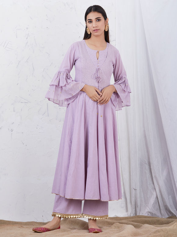 Mauve Embroidered Cotton Kurta