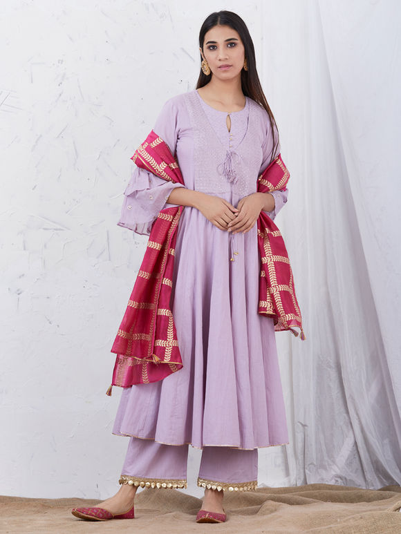 Mauve Embroidered Cotton Kurta with Palazzo and Pink Hand block Printed Chanderi Dupatta - Set of 3