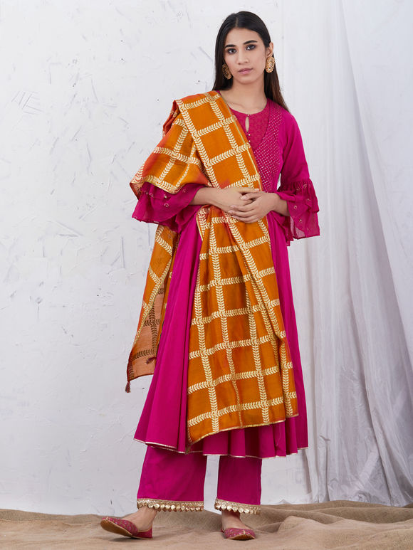 Pink Embroidered Cotton Kurta with Palazzo and Orange Hand block Printed Chanderi Dupatta - Set of 3