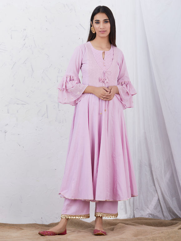 Pastel Pink Embroidered Cotton Kurta