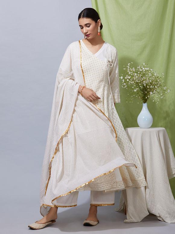 Off White Jamdani Chanderi Angrakha Kurta with Cotton Pants and Hand Block  Printed Mulmul Dupatta- Set of 3 52aa29304