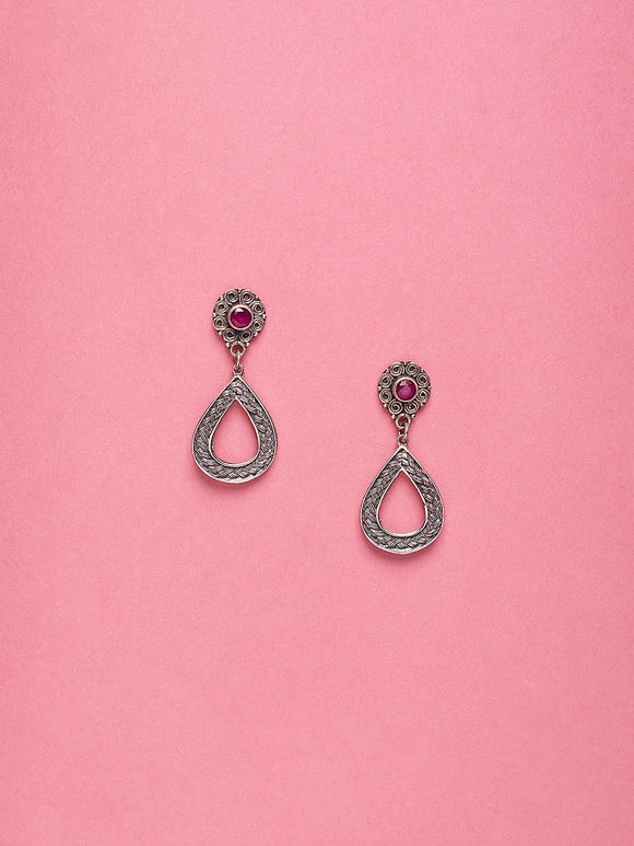 Silver Handcrafted Ruby Stud Earrings