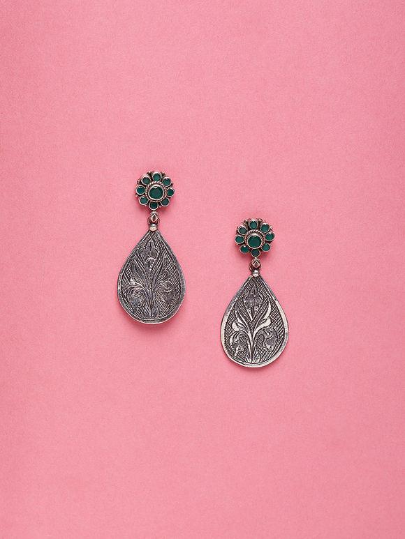 Silver Handcrafted Flower Emboss Earrings