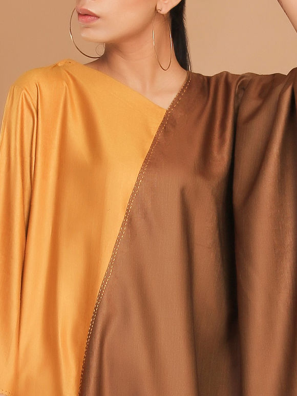 Mustard Yellow Brown Tussar Cotton Cowl Dress