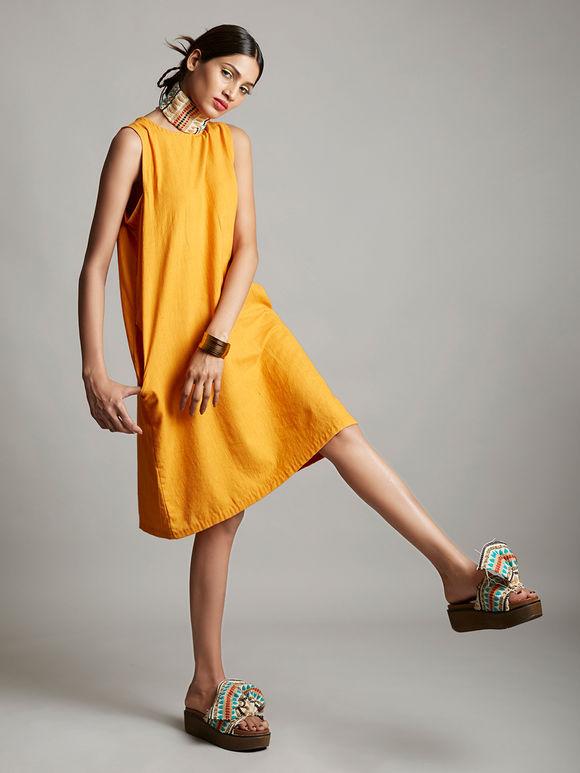 Mustard Yellow Organic Cotton Sleeveless Dress