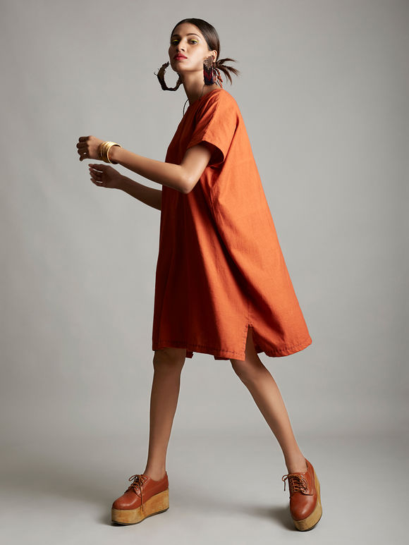 Orange Organic Cotton Short Dress