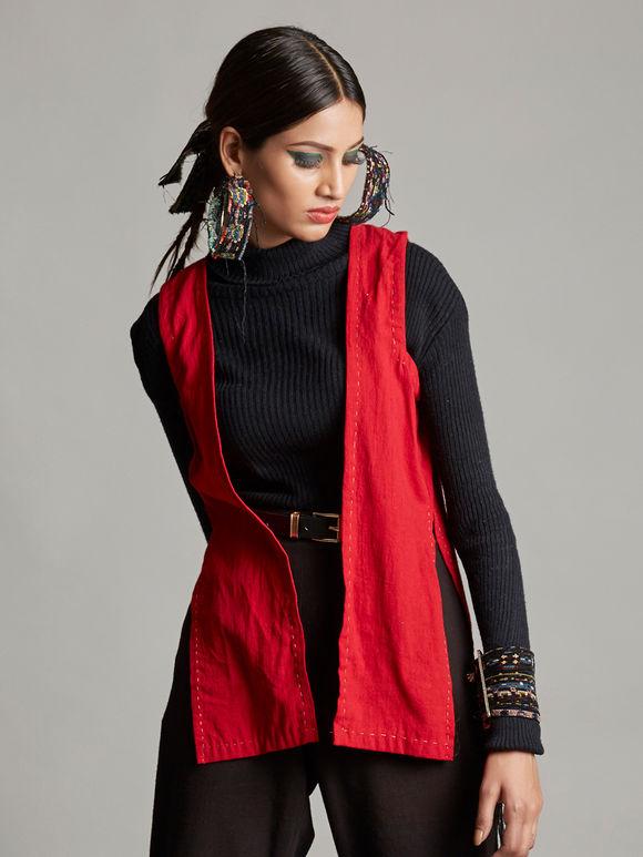 Red Organic Cotton Sleeveless Shrug