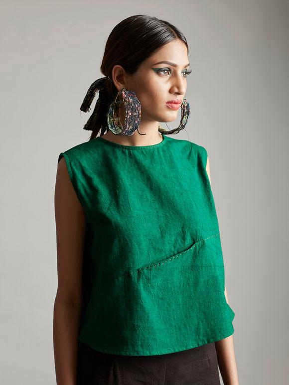 Emerald Green Organic Cotton Sleeveless Top