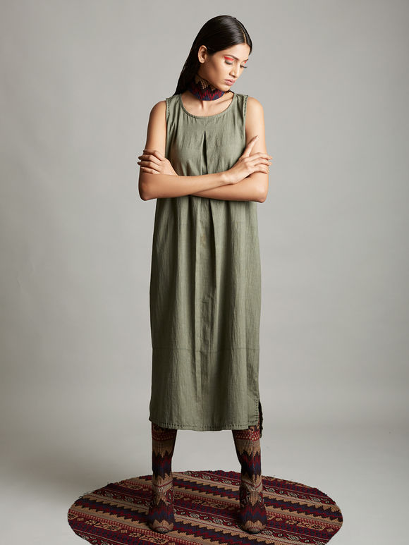 Grey Organic Cotton Pleated Dress