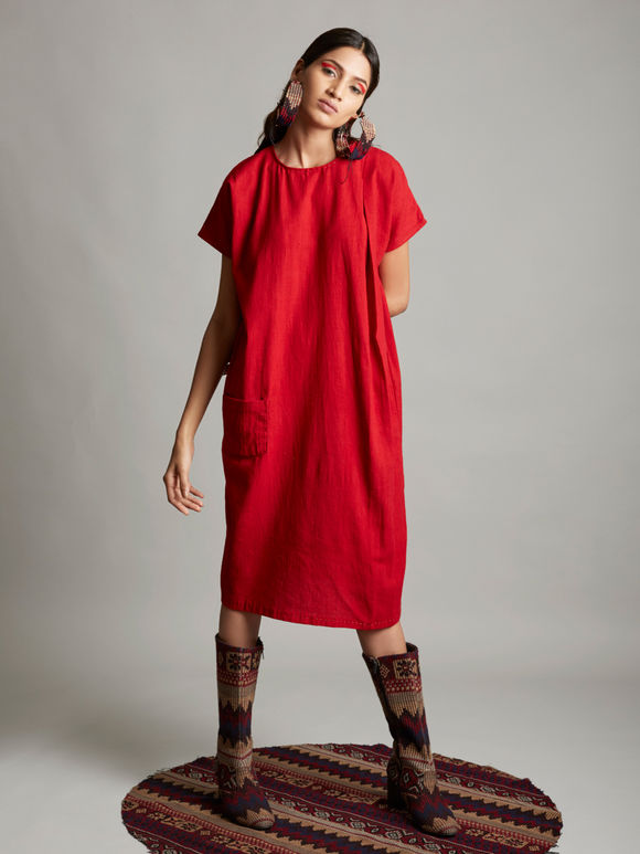 Red Organic Cotton Pleated Dress