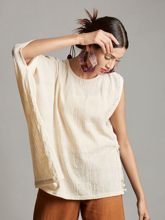 White Asymmetric Organic Cotton Top