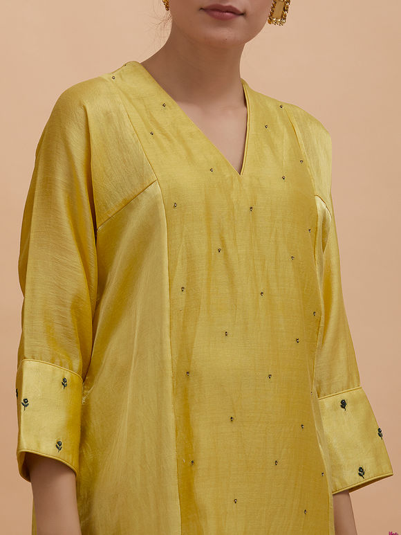 Yellow Embroidered Chanderi Silk Kurta with Cotton Silk Pants- Set of 2