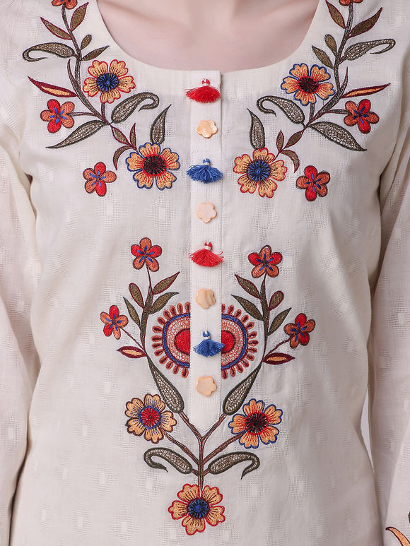 Ivory Floral Embroidered Cotton Kurta with Tie and Dye Palazzo- Set of 2