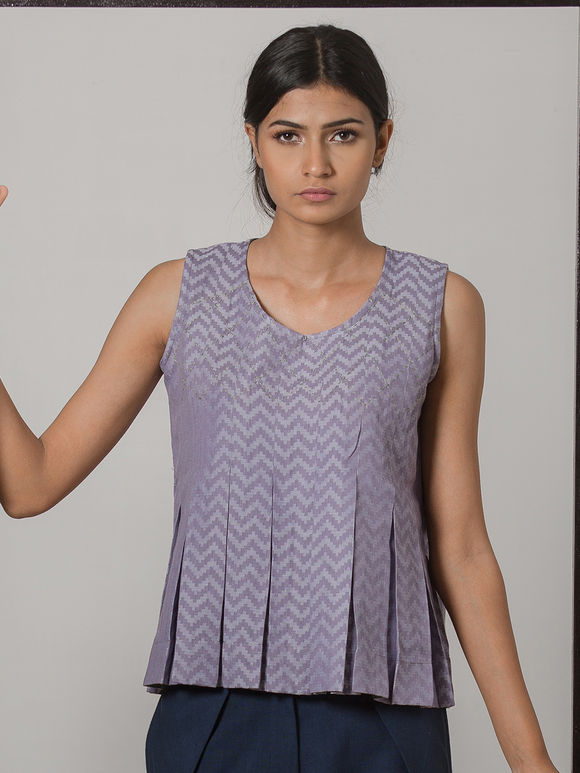 Lavender Printed Cotton Linen Pleated Top