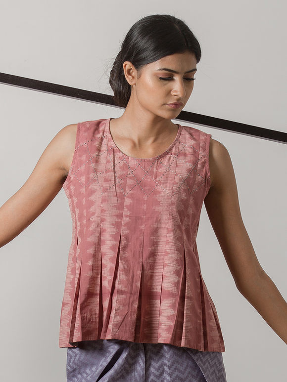 Old Rose Printed Cotton Pleated Top