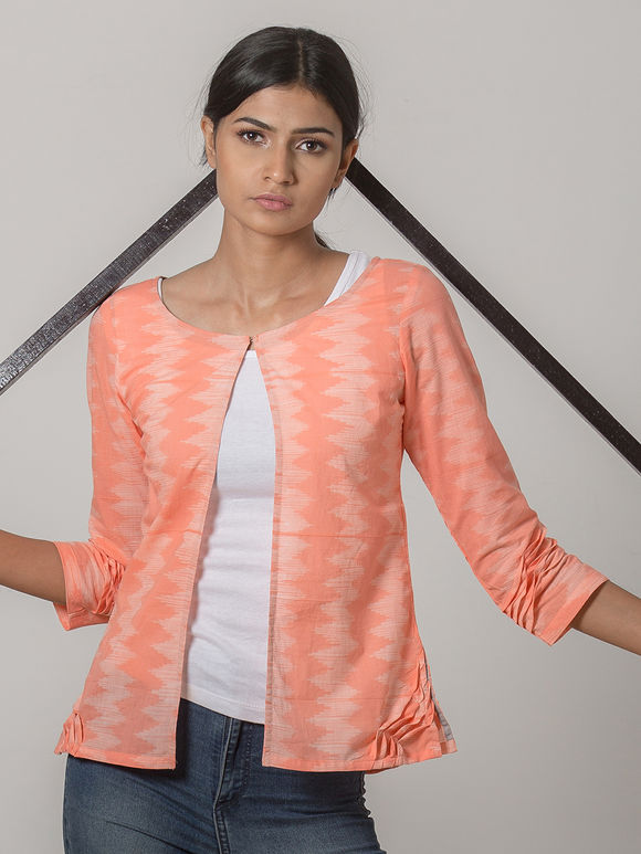 Peach Printed Cotton Jacket