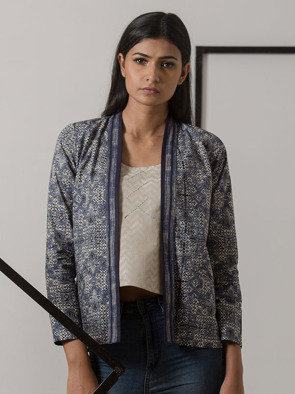 Indigo Printed Cotton Jacket
