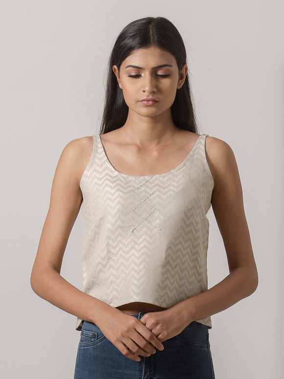 Beige Printed Cotton Linen Cami Top