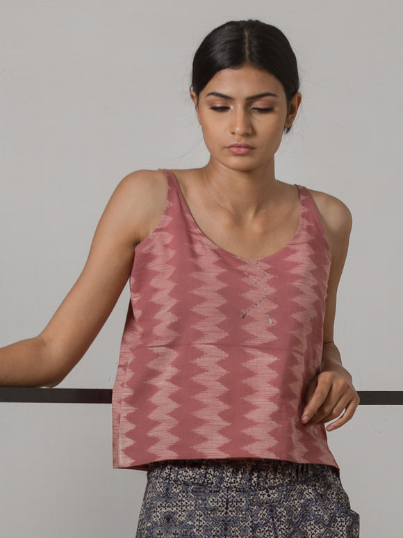 Pink Printed Cotton Linen Cami Top