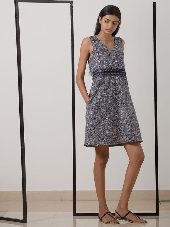 Indigo Hand Block Printed Cotton Dress
