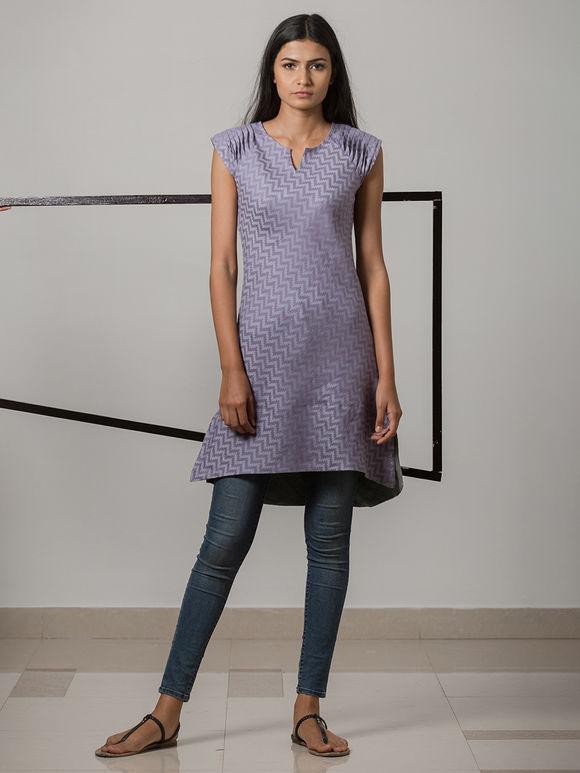 Lavender Printed Cotton Linen Kurta
