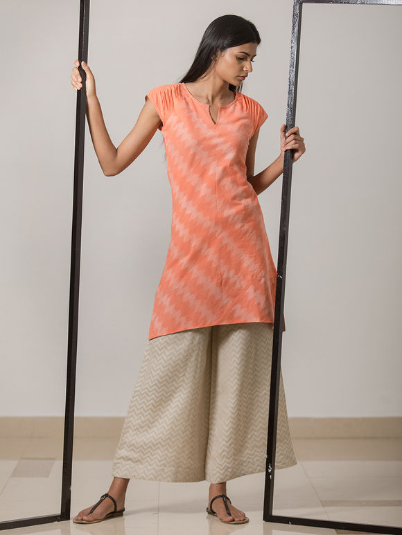 Peach Printed Cotton Linen Kurta
