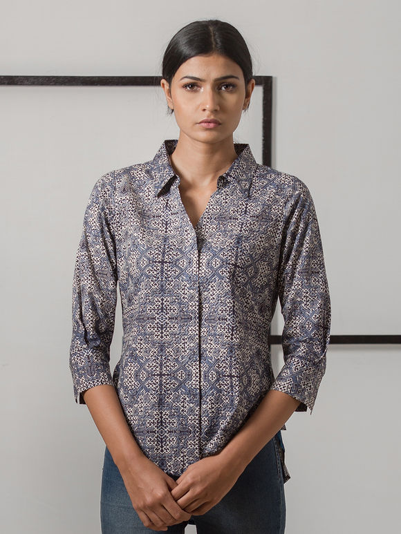 Indigo Hand Block Printed Cotton Shirt