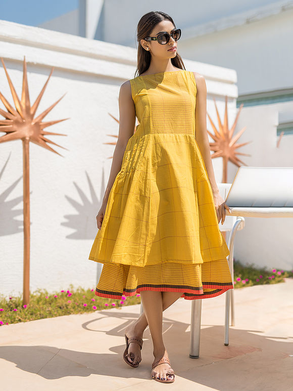 Yellow Checkered Cotton Double Layered Dress