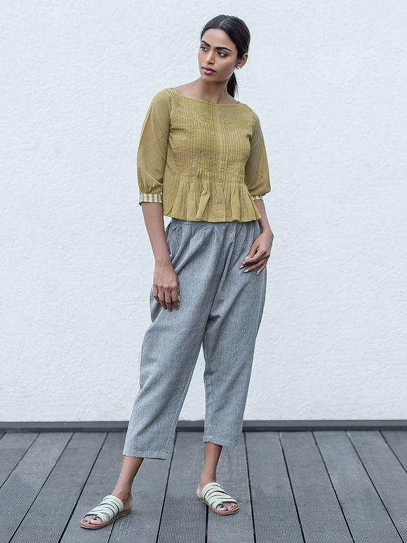 Olive Green Cotton Pleated Kedia Top