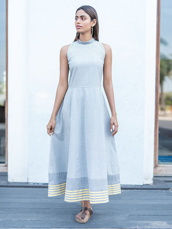 Greyish Blue Cotton Maxi Dress