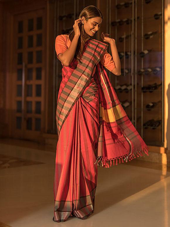 Red Striped Cotton Zari Saree