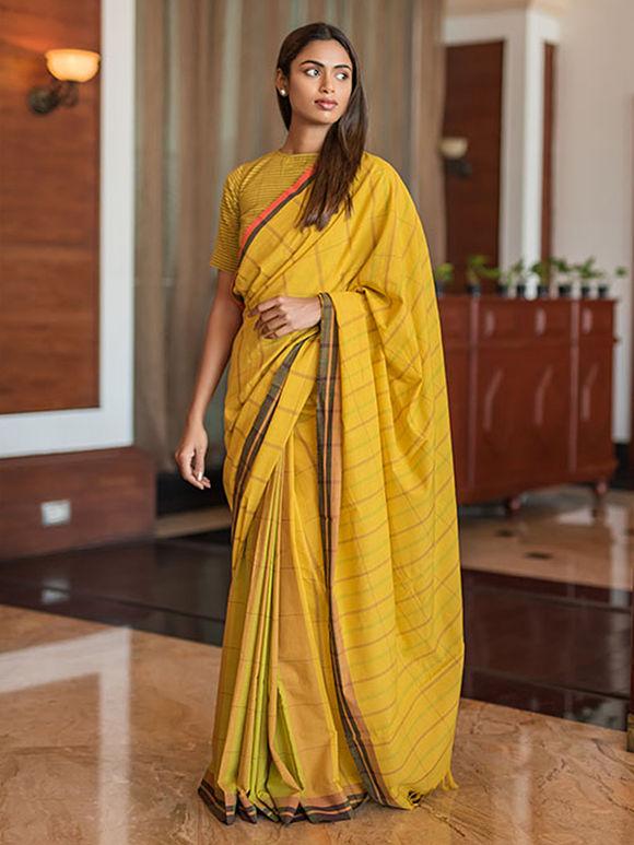 Yellow Striped Cotton Saree