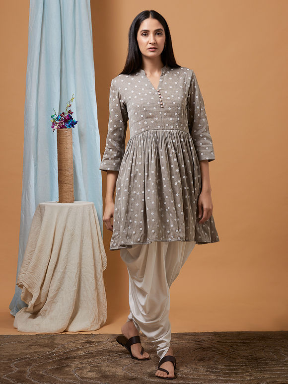Grey Polka Hand Block Printed Cotton Linen Kurta with Off White Dhoti Pants - Set of 2