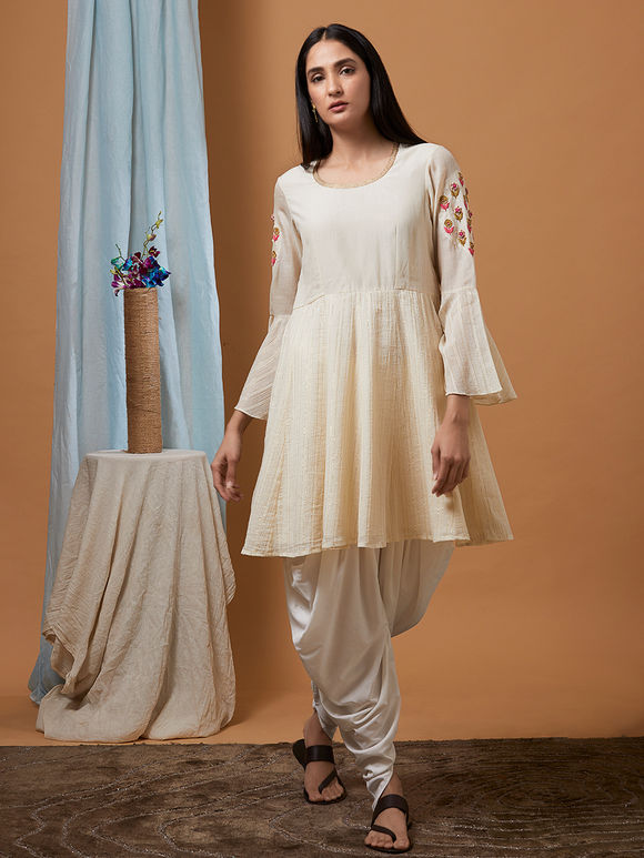 Off White Hand Embroidered Cotton Chanderi Kurta with Dhoti Pants - Set of 2