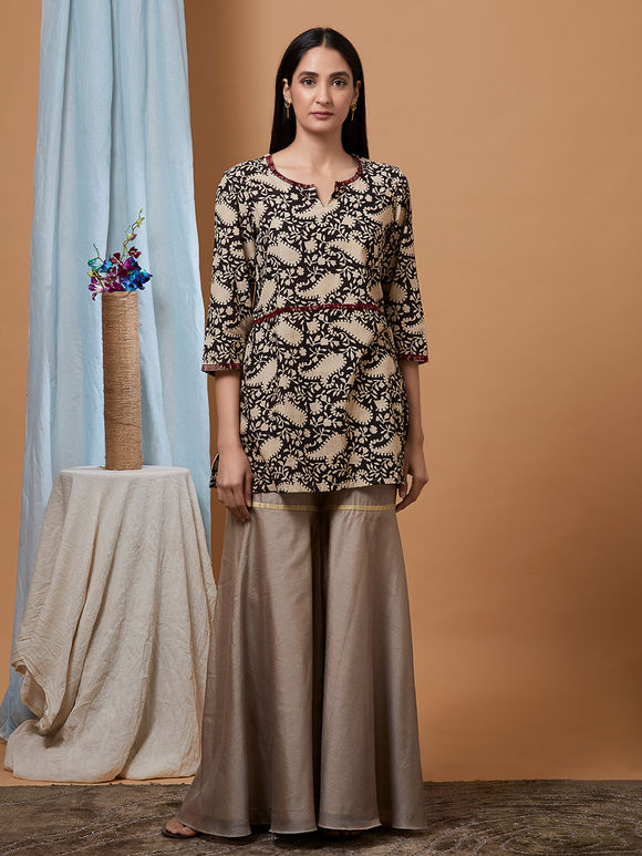 Black Beige Hand Block Printed Cotton Kurta with Chanderi Sharara - Set of 2