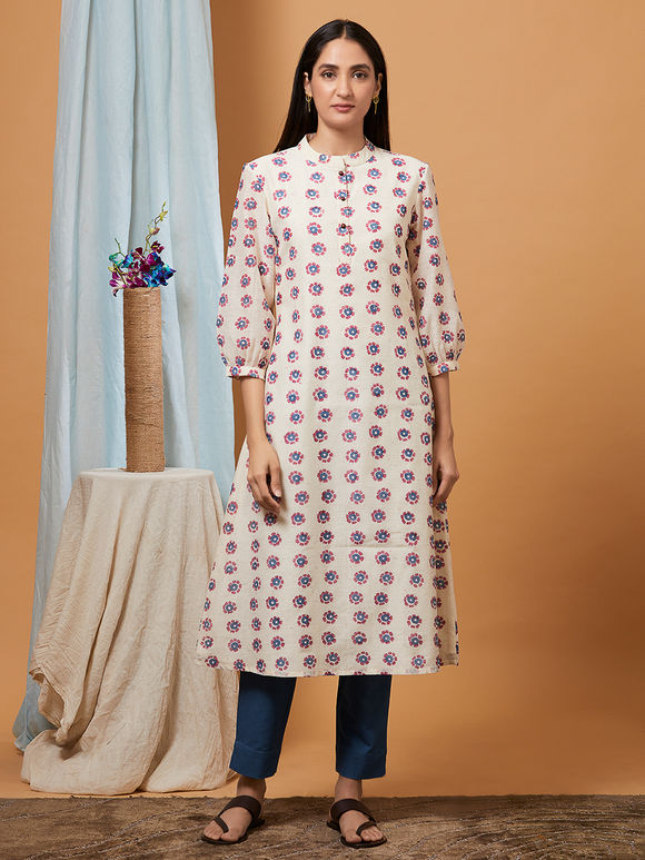 Off White Hand Block Printed Cotton Kurta with Blue Pants - Set of 2